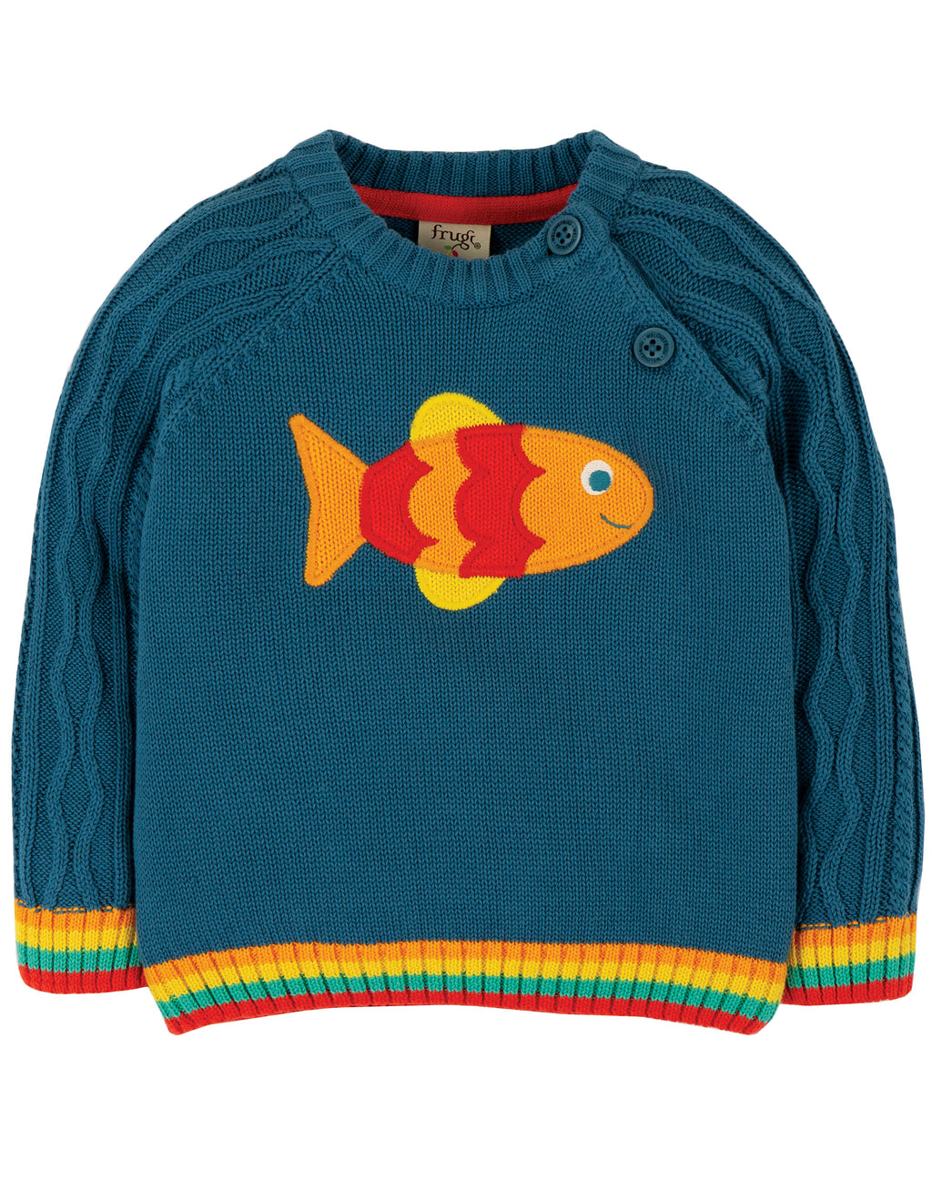 Frugi - Caleb Cable Knit Jumper Steely Blue Fisch