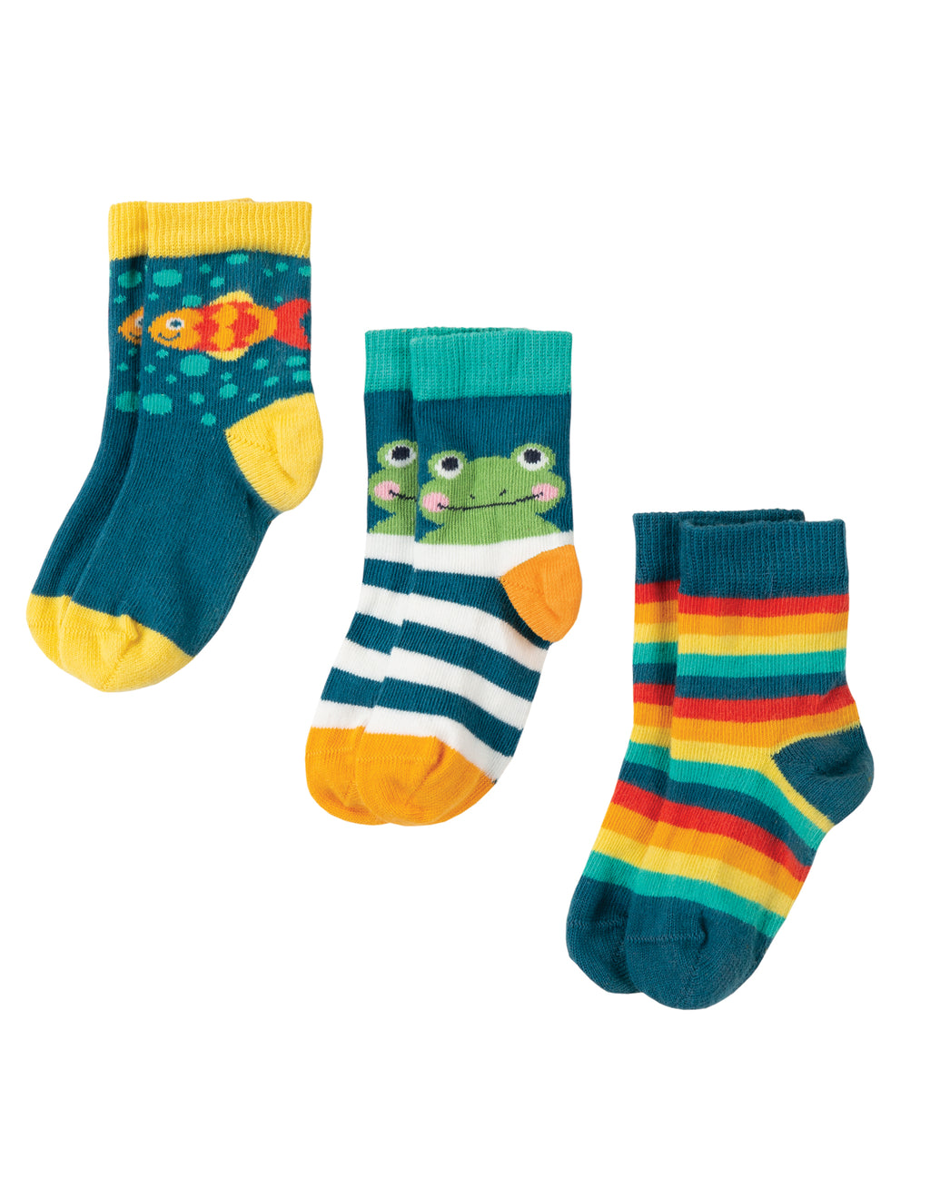 Frugi - Little Socks 3 Pack Frog 6-12M