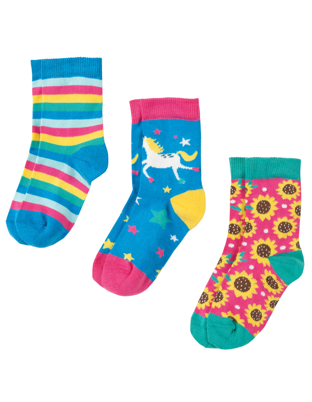 Frugi - Susie Socks 3 Pack Unicorn