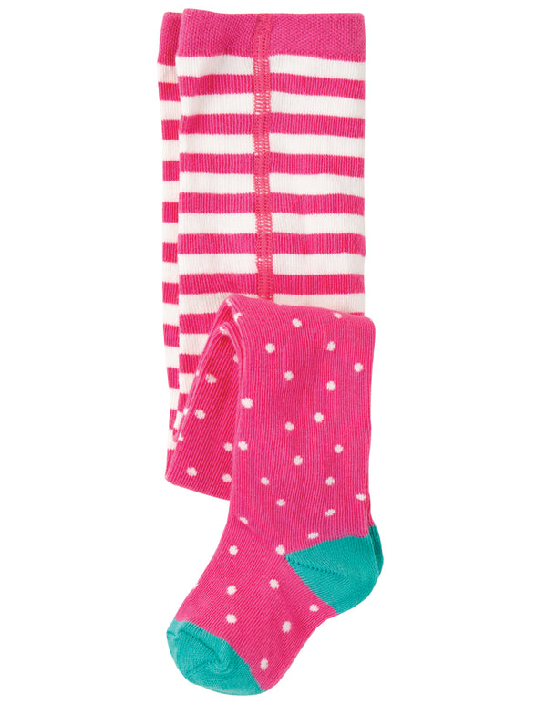 Frugi - Tamsyn Tights Flamingo Dot 6-12M
