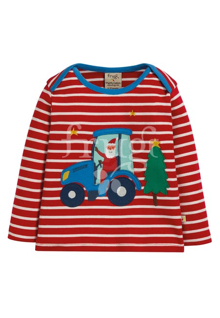 Frugi - Bobby Applique Top Tango Red Stripe/Tractor