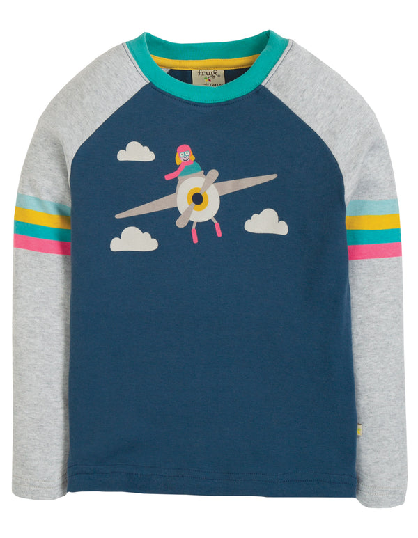 Frugi - Rainbow Raglan Top Space Blue/Pilot
