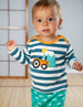 Frugi - Bobby Applique Top Steely Blue Stripe Tractor