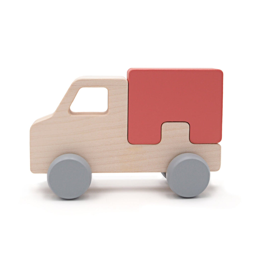 Briki Holz-Puzzle Truck rot