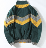 Green Color Block Windbreaker