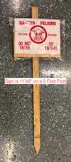 Pesticide Danger / Peligro Sign With Wood Stake