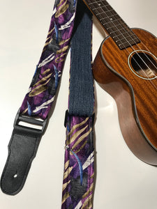 Adjustable Ukulele Strap (JERRY GARCIA - black, purple, white)