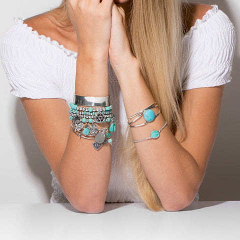 Silver Tone Multicharm with Magnesite Bracelet
