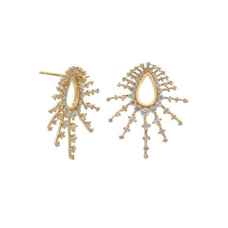 14k Gold Plated Burst CZ Post Earrings