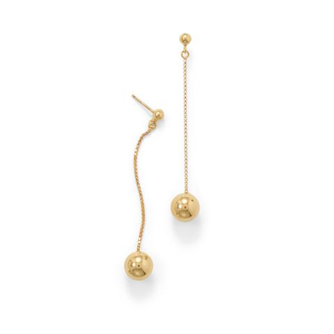 Gold Bead Drop Earrings