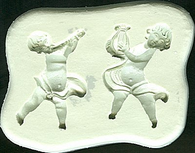 Diamond Paste Moulds - Cherubs with Harp & Flute - Small 42mm high