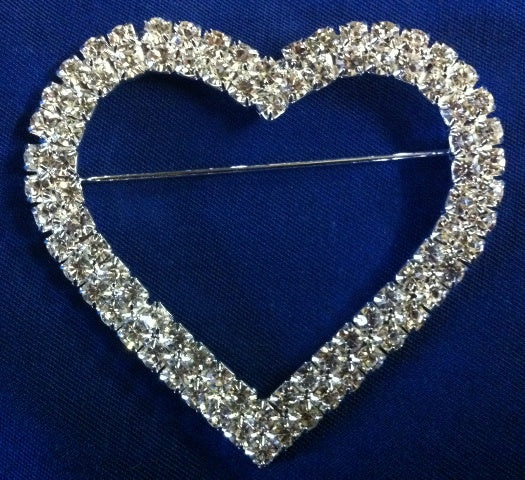 Diamante Brooch - Large Heart  65mm
