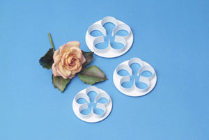 5 Petal Blossom.  Set of 3.  75mm, 65mm, 55mm.   PME Cutters.