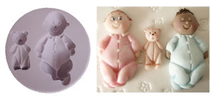 Karen Davies Mould - Baby and Teddy.