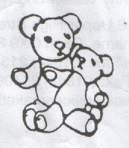 Clean Cut Cutters - 32. Teddy holding baby Teddy 25mm embosser SALE
