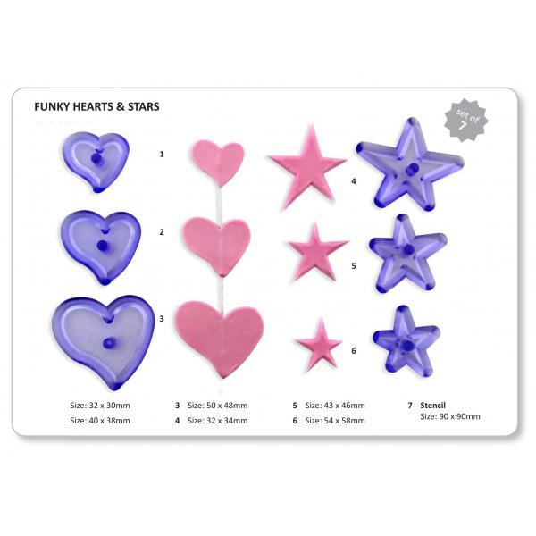 Jem Cutters - Funky Hearts and Stars with Stencil