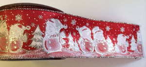 Christmas Ribbon - Snowman - Red.  Wired 60mm  (per Metre)