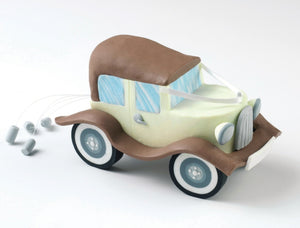 Wedding Topper - Wedding Car - Claydough Cream with Brown Trim.