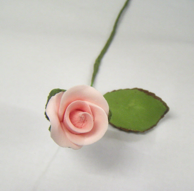 Sugar Flowers - Pink Rose Bud and Leaf -  Wired