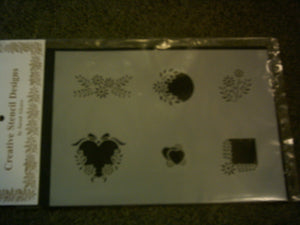 SF172  Embroidery 6 Designs Hearts & Flowers stencil