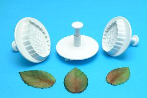 Rose - Veined Leaf Plunger Cutter  (Large, Medium and Small) set of 3 - PME Cutters