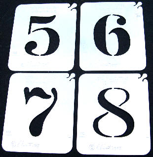 Stainless Steel Stencil - Numbers 1-8  set  (6 is used for 9)  SALE