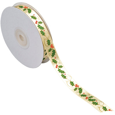 Christmas Ribbon - Holly 15mm  (per metre)