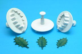 Holly Veined Leaf Plunger Cutters XL set of 3 - PME Cutters