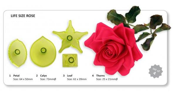 Jem Cutters Rose Large set - Petal, Leaf, Calyx, Thorns.