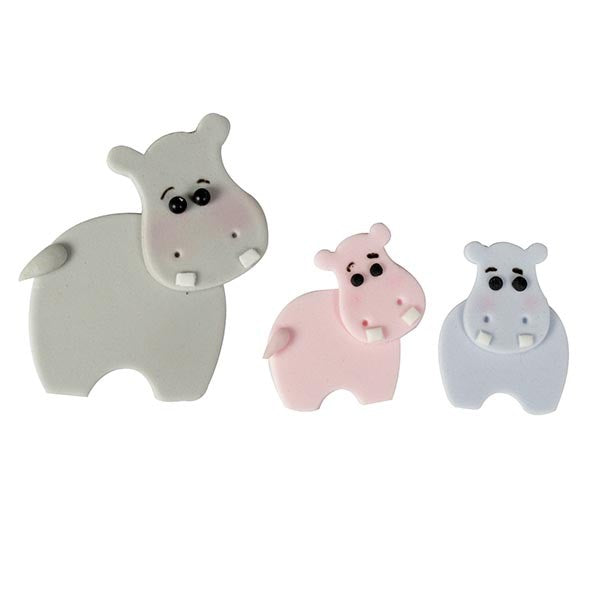 FMM Cutters - Mummy & Baby Hippo Cutter  - Set of 4