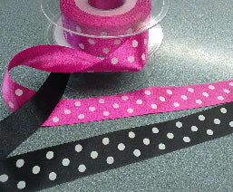 Polka Dot 25mm satin ribbon