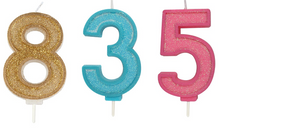 Candles - Glitter Numeral 70mm
