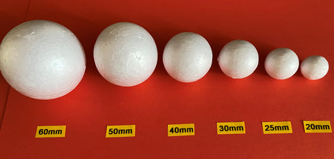 Polystyrene Balls - Solid Various Sizes