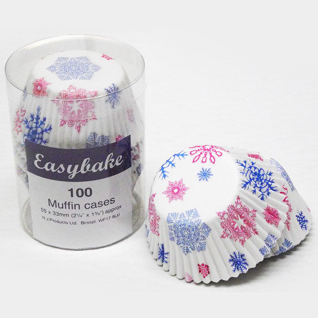 Muffin Cases - Snowflake,  pack of 100