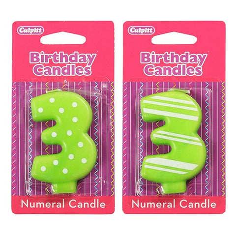 Candle Stripe or Dot Numeral '3'  Green