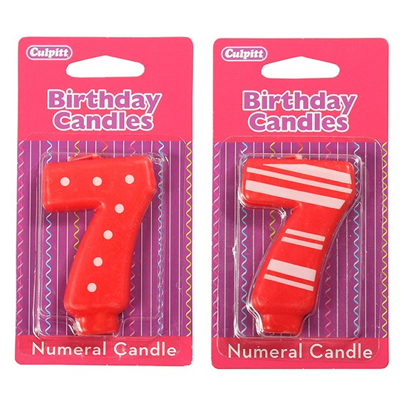 Candle Stripe or Dot Numeral '7'  Red
