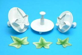 Ivy - Veined Plunger Cutter (28mm,22mm and 15mm). set of 3 - PME Cutters