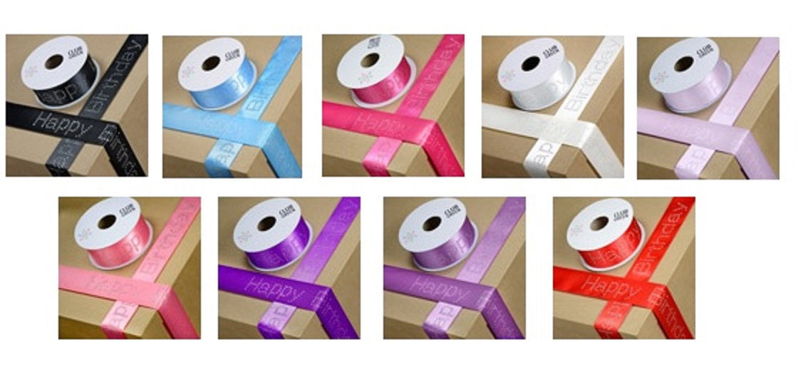Happy Birthday Ribbon with Diamante Lettering.  40mm (per metre )