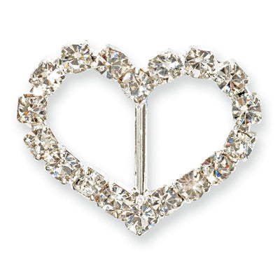 Diamante Buckle Heart - 1.5 x 1cm. Vertical Bar