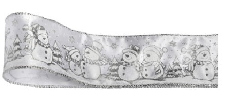 Christmas Ribbon - Snowman - Silver.   Wired 60mm  (per Metre )