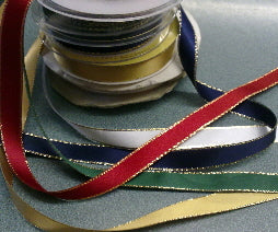 15mm Satin Ribbon with a Metalic Gold Edge