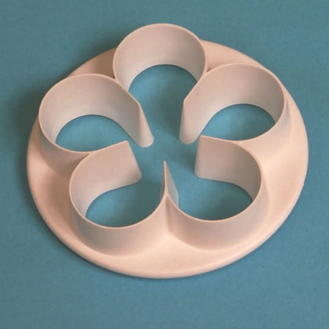 5 Petal Blossom Cutter.  set of 4.  50mm, 45mm, 40mm, 30mm.  PME Cutters