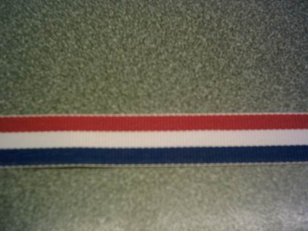 Red, White and Blue Stripe Ribbon 9mm