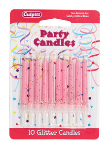 Candles - Glitter.  Pack of 10