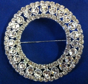 Diamante Brooch - Large Round with Large Diamante Middle Row 70mm