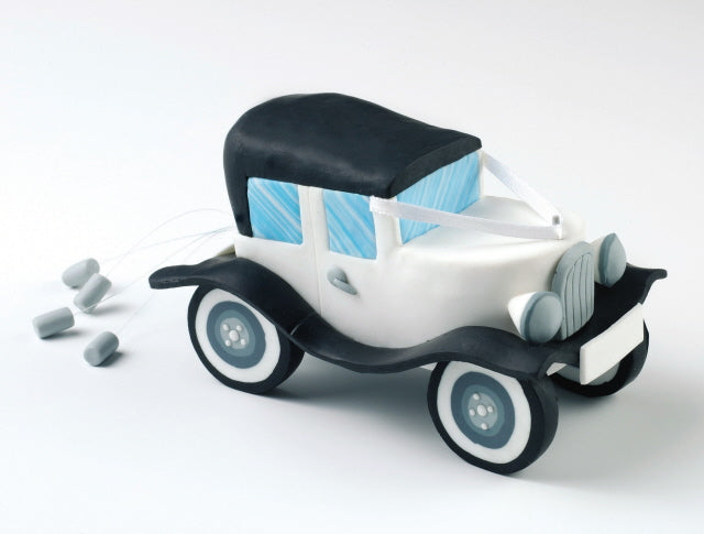 Wedding Topper - Wedding Car - Claydough White with a Black Trim.