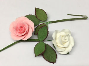 Sugar Flowers - Rose (Small) and Leaves-  Wired