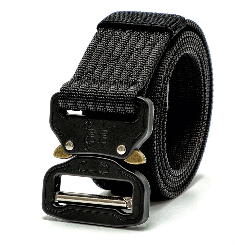 Tactical Belt, Military Style Webbing Riggers Web Belt with Heavy Duty Quick-Release Metal Buckle