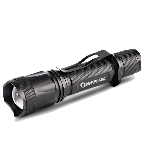 NeverDark RTX1000 Rechargeable LED Flashlight | 18650 Battery and USB Cable Included