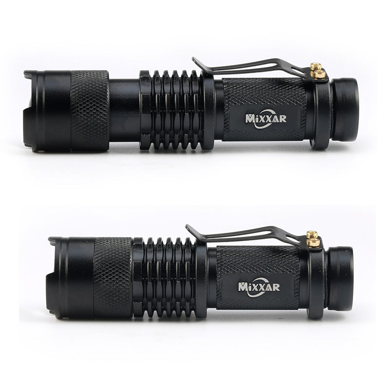 Mixxar Mini Waterproof LED Flashlight | Adjustable Focus, 300 Lumens, Metal Carry Clip and 3 Light Modes (including strobe)